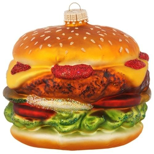 Double Decker Cheeseburger In Paradise Glass Holiday Christmas Ornament